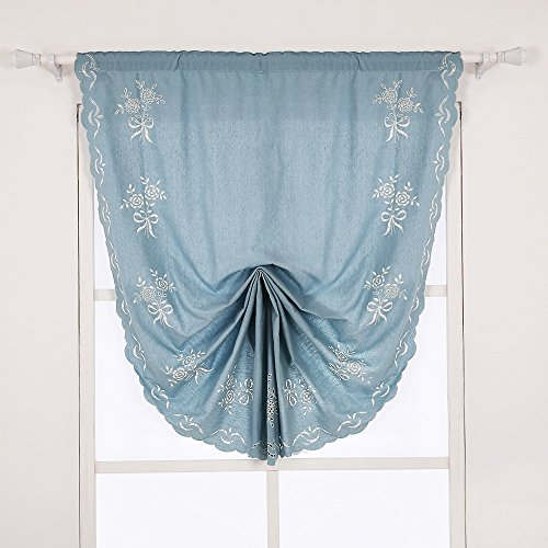 ZHH 47 Inch By 69 Inch Hollow-out Handmade Embroidered Flowers Cotton Tie-Up Roman Shade Curtain, Blue by ZHH (Image #8)