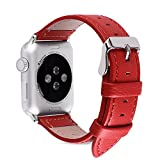 5 Colors for Apple Watch Bands 38mm and 42mm, Fullmosa Jan Calf Leather Replacement Band/Strap for Apple Watch Series 3, iWatch Series 3, Series 2, Series 1, Sport 2015 2016 2017, 38mm Red