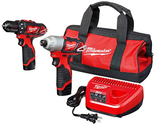 Milwaukee 2494-22 M12 Cordless Combination 3 8 Drill Driver and 1 4 Hex Impact Driver Dual Power Tool Kit 2 Lithium Ion Batteries, Charger, and Bag Included