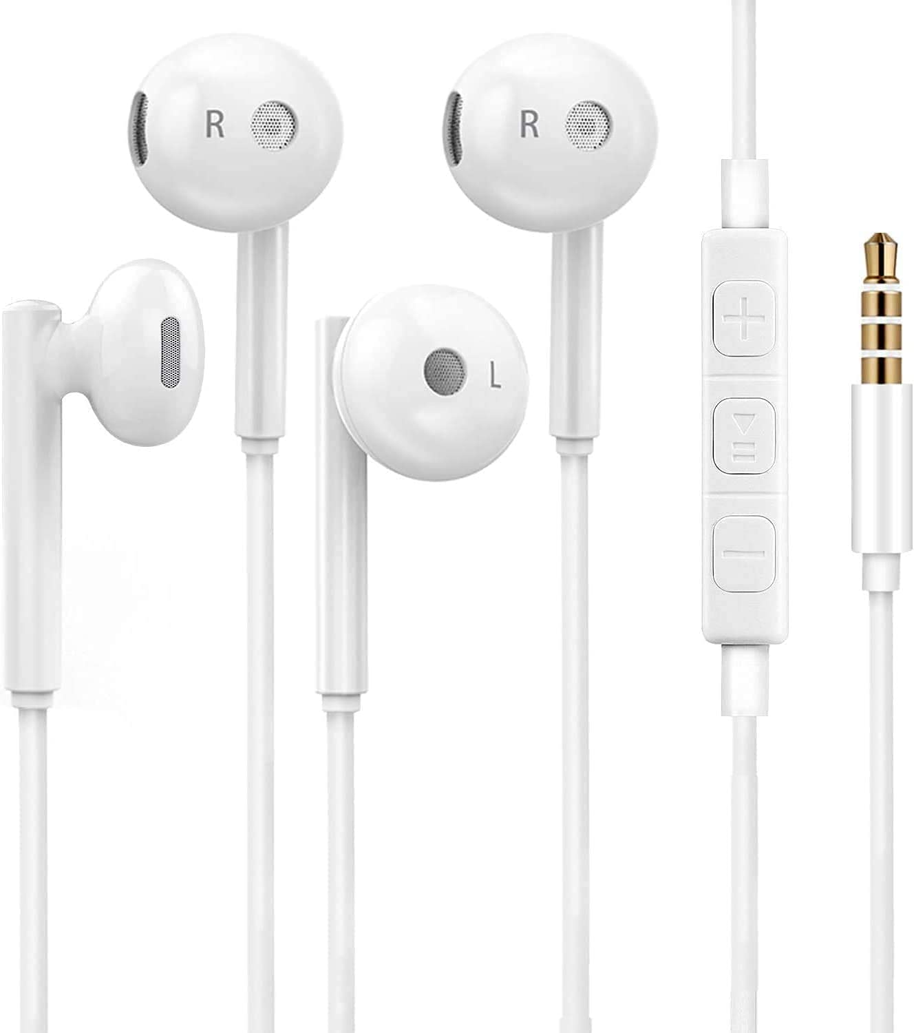 2 Pack Wired Earbuds Headphones with Microphone, Earbuds Wired Stereo Earphones in-Ear Headphones Bass Earbuds, Compatible iPhone and Android, Pod, Pad, MP3 Players, Fits Most 3.5mm Jack