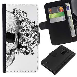 EJOY---La carpeta del tirón la caja de cuero de alta calidad de la PU Caso protector / LG G3 / --Cráneo floral de las rosas de la Muerte Tattoo metal