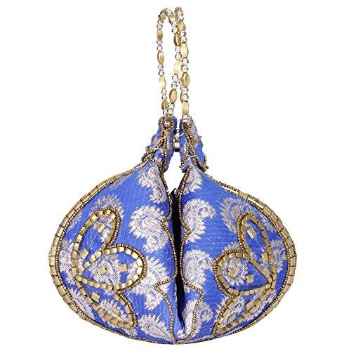 Bangle Potli Bag / Wristlet/Wedding Hand Bag with Brocade Beads - Blue