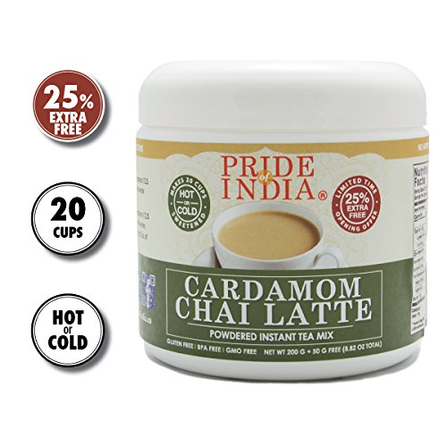 Pride Of India - Cardamom Chai Latte - Powdered Instant Tea Premix, 8.82oz (250gm) Jar - Makes 20-25 Cups - Amazing Flavor, Hold or Iced, Very Low Caffeine, Ready in seconds, Great for Gifting & Party