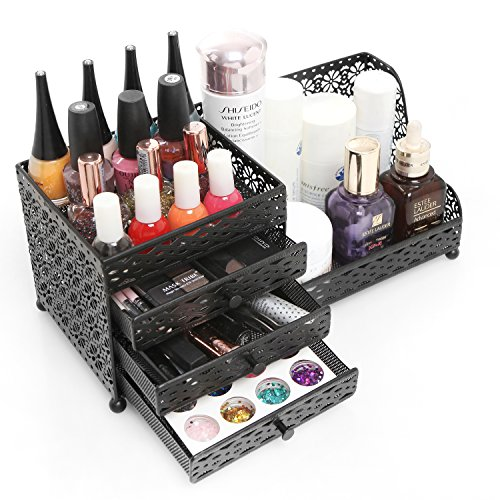 Black Metal Jewelry & Cosmetics Storage Drawer Box/Decorative Dresser Top Organizer Tray - MyGift