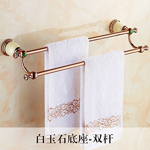 LHbox Tap Jewel of Whole Copper Double Bar Towel Rack Toilet Rose Gold Bath Towel Rack Towel Bar Bathroom Towel, White Jade Base - Double Bar