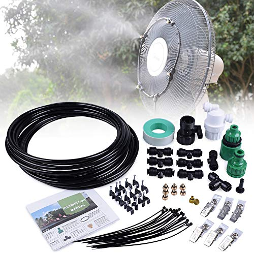 MIXC Outdoor Mist Cooling System Fan Misting Kit Animal Plants Swimming Pool Cooler with 20ft 1/4inch Tube Hose Pipe 7 Brass Metal Nozzles Jets Misters Water Filter for Patio Garden Home Irrigation