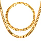 """Hip Hop Men Party Jewelry Set Platinum/Black Gun/Rose Gold/Yellow Gold Plated Bracelet & Necklace With """"18K"""" Stamp"""