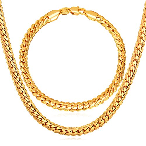 U7 Men Jewelry with 18KGP Stamp Hip Hop Snake Chain 6MM Wide 18K Gold Plated Bracelet & Necklace Set (8.3