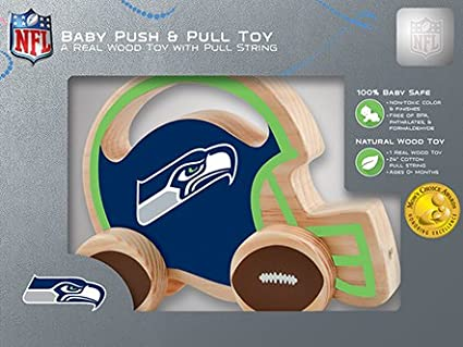 BPA Non-Toxic /& Formaldehyde Free Push /& Pull Toy with Cotton String MasterPieces NFL Seattle Seahawks Natural Wood Phthalates