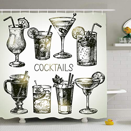 Ahawoso Shower Curtain 72x72 Inches Martini Green Glass Sketch Alcoholic Cocktails Food Drink Vintage Orange Gin Margarita Alcohol Design Waterproof Polyester Fabric Set with Hooks
