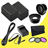 TWO BP-819 Lithium Ion Replacement Battery w/External Rapid Charger + 58mm 3 Piece Filter Kit + 58mm Wide Angle Lens + 58mm 2x Telephoto Lens + Mini HDMI Cable for Canon Vixia HFG10 XA10 HFS10 HFS20 HFS21 HFS30 HFS100 HFS200 Digital Camcorder DavisMAX BP819 Accessory Bundle