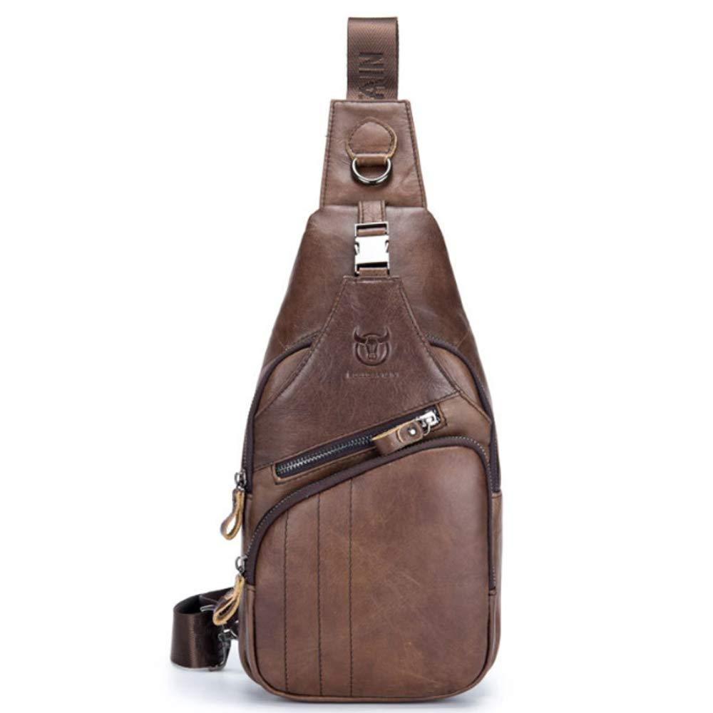 MUMUWU Men's Crossbody Leather Casual Sports Men's Fashion Chest Bag Men Front Chest Bag (Color : Metallic, Size : L)