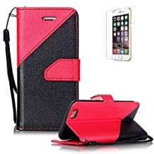 "iPhone 6/6S 4.7"" Case [with Free Screen Protector], Funyye Elegant Premium Folio PU Leather Wallet Magnetic Flip Cover with [Wrist Strap] and [Credit Card Holder Slots] Full Protection CaseSkin Shell different color splicing Style Cover Case for iPhone 6/6S 4.7""-Red"