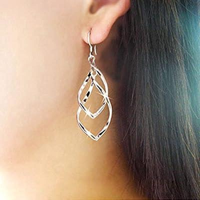 RENYZ.ZKHN Ear Nail Shiny Alloy Earnail Rhomboid Multi Layer Earrings Ladies