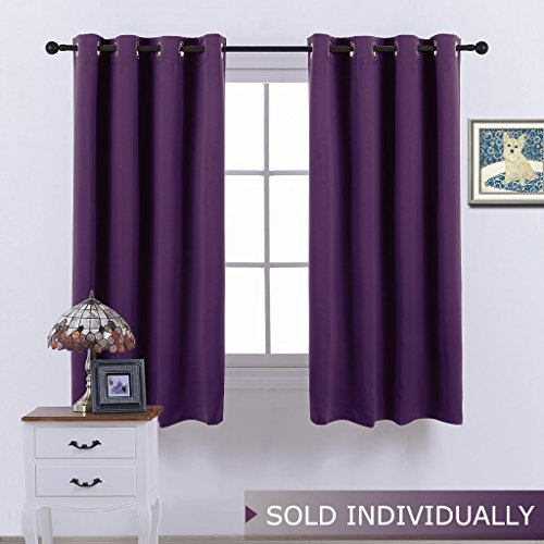 Blackout Drape Window Curtain Short - (Deep Purple Color) Home Fashion Thermal Insulated Room Darkening Drapery for Bedroom by NICETOWN, 52W x 63L, Sold Individually