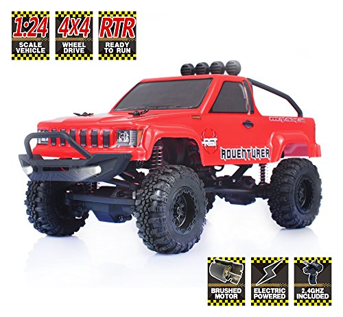 Mini Rock Crawler (RGT RC Crawlers RTR 1/24 Scale 4wd Off Road Monster Truck Rock Crawler 4x4 Mini RC Car with Lights (Red))