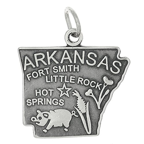 (Sterling Silver Oxidized Travel State Map of Arkansas Charm Pendant)