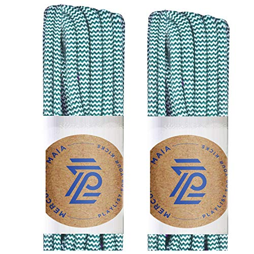 (Mercury + Maia Round Shoe Laces for Sneakers and Boots - USA Made [2 Pair Pack] (Teal/White, 54 inches))