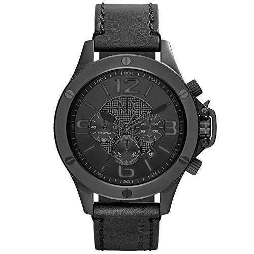 A|X Armani Exchange Men's Chronograph Black Leather Strap Watch 48mm AX1508