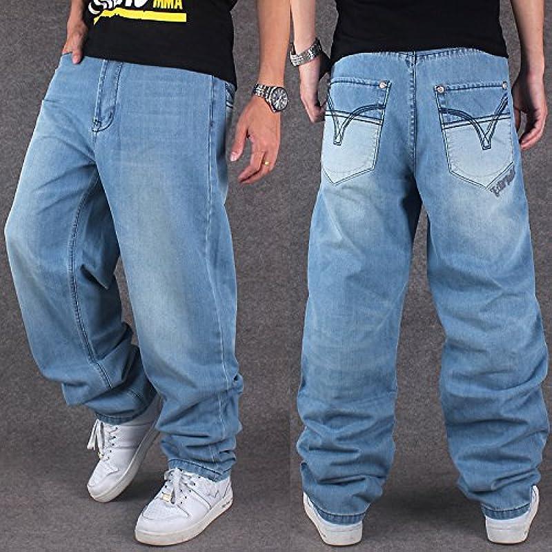 CYSTYLE jeansy męskie Hip Hop niebieskie Hipster Style Baggy Jeans Rap Denim Straight Leg Loose Fit: Odzież