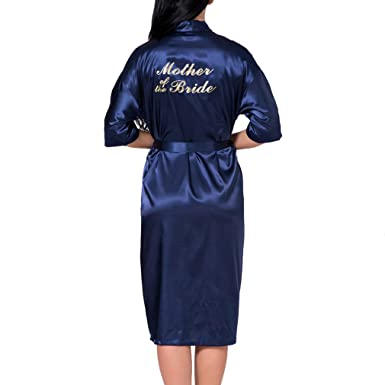 464036a2f4 Juleya Long Satin Personalized Wedding Robe Bridesmaid Bride Mother Silk  Dressing Gown Navy Bride