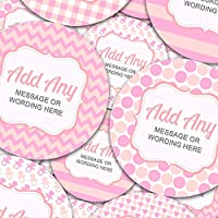 "Graphic Flavor Baby Shower Pink Personalized Sticker Labels (35 Stickers @ 1.4"" Inch) Ideal for Reward Treat Favor Party Bags Candy Cones Jars Gift Boxes Bottles Crafts"