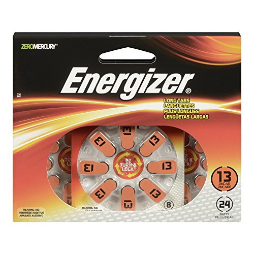 - Energizer AZ13DP-24 EZ Turn and Lock Hearing Aid Size 13 Batteries, 24-Pack