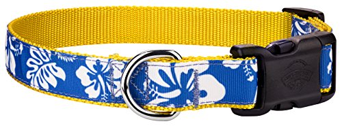 Country Brook Design | Deluxe Royal Blue Hawaiian Ribbon Dog (Hawaiian Dog Collar Collars)