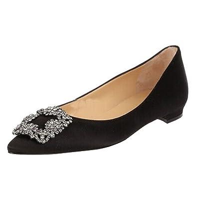 MERUMOTE Women s Rhinestone Shoes Satin Pointed Toe Flats Black 5.5 US 05eb589cbc37
