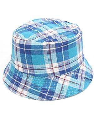 Toddler Kids Boys Girls Plaid Cotton Bucket Hats Sun Helmet Cap