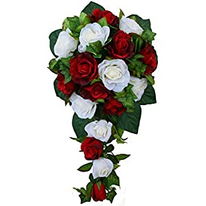 Red and Ivory Silk Rose Cascade - Bridal Wedding Bouquet 41