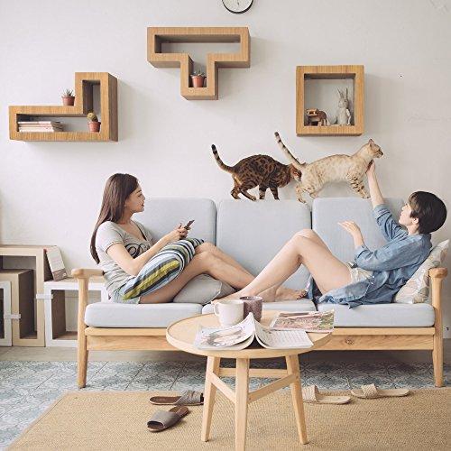 KATRIS SHELVES - Modular Cat Shelves - 3 Blocks with different styles ... (Wood Teak)
