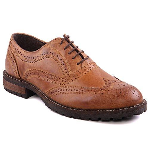 """Unze Mens """"barrow"""" estilo de las correas formales atan para arriba los zapatos Tamaño BRITÁNICO 7-11 ROJO MARRÓN"""