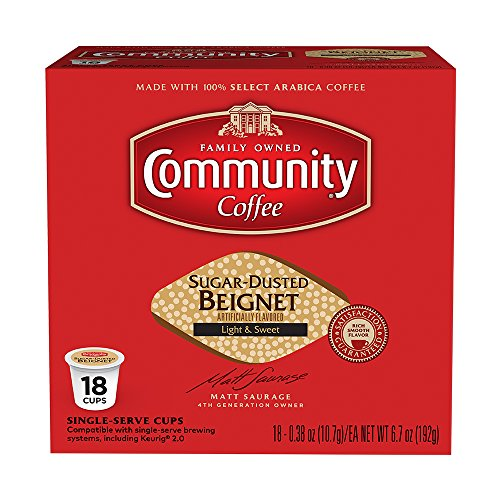 Community Coffee Sugar Dusted Beignet Flavored Medium Roast Single Serve 18 Ct Box, Compatible with Keurig 2.0 K Cup Brewers, Medium Full Body Light Sweet Taste, 100% Arabica Coffee Beans