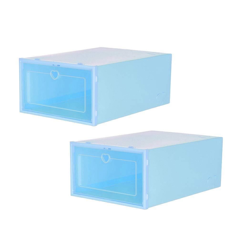 2PC Foldable Shoe Boxs Stackable Clear Shoe Storage Box Shoe Organizer Plastic White, L -23X14X35CM Storage Bins Shoe Container Organizer
