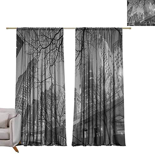 berrly Tie Up Printed Blackout Curtain Black and White,Chicago City Downtown Nighttime Highrise Buildings Tree Branches,Grey Black White W84 x L108 Tie Up Window Drapes Living Room