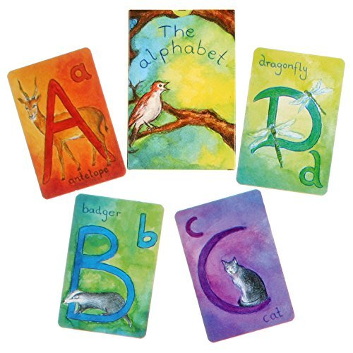 Grimm's Animal ABC Waldorf Alphabet Cards - Artistic Watercolor Letter Cards in English with Ideas for Playing, Deck of 48