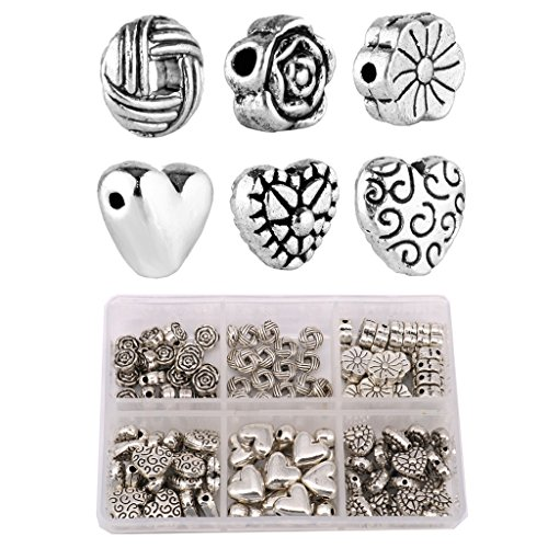 Aprilsky 120pcs Siver Tibetan Sweet Heart Lovely Rose Knot Charms Spacer Beads Jewelry Findings Mix Lot Box Set Assotment ()
