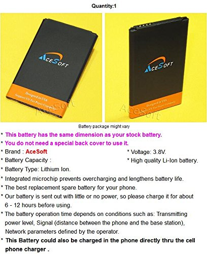 AceSoft 2400mAh Extended Slim Rechargeable Battery for LG X Style L56VL Android phone - High Power