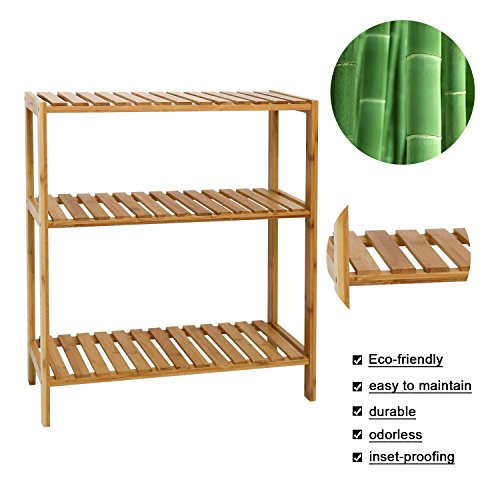 Kinbor Bamboo Rack Multifunctional Bathroom Kitchen Living Room Holder Plant Flower Stand Utility Storage Shelf (3-Tier)