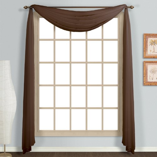 United Curtain Monte Carlo Sheer Scarf, 59 by 144-Inch, - Curtain Brown Scarves