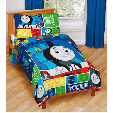 (Jay Franco Nickelodeon Thomas & Friends 4 Piece Toddler Bed Set - Super Soft Microfiber Bed Set Includes Toddler Size Comforter & Sheet Set - Bedding Features Thomas (Official Nickelodeon Product) )