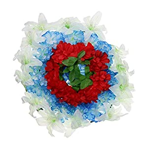 D DOLITY Funeral Cemetery Decoration Handmade Silk Lily Flower Memorial Flower Wreath 60cm - H 1
