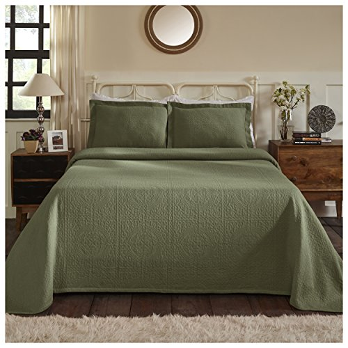 Superior 100% Cotton Medallion Bedspread with Shams, All-Season Premium Cotton Matelassé Jacquard Bedding, Quilted-look Floral Medallion Pattern - King, Sage