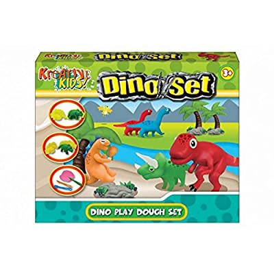 KT Dinosaur Dough Play Set - Boys Creative Toys - Includes 4 Colours of Dough, Dinosaur Moulds + Accessories: Toys & Games