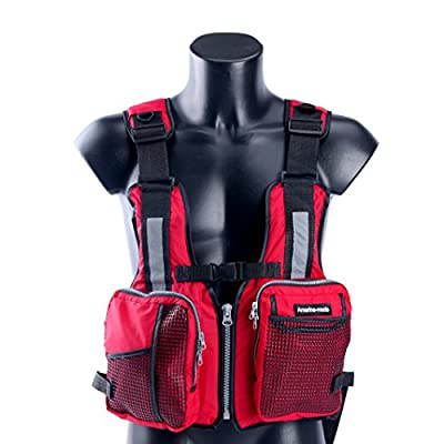 Amairne-made Boat Buoyancy Aid Sailing Kayak Fishing Life Jacket Vest - D11 - Red