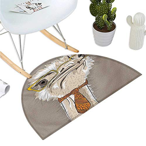 Indie Semicircular Cushion Sketch Portrait of Funny Modern Ostrich Bird with Yellow Eyeglasses and Tie Halfmoon doormats H 19.7