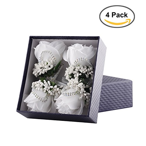 YSUCAU Rose Boutonniere Handmade Corsage Classic Artificial Groom Flowers Brooch with Pin for Wedding Prom Party (White) (Corsages For Prom)