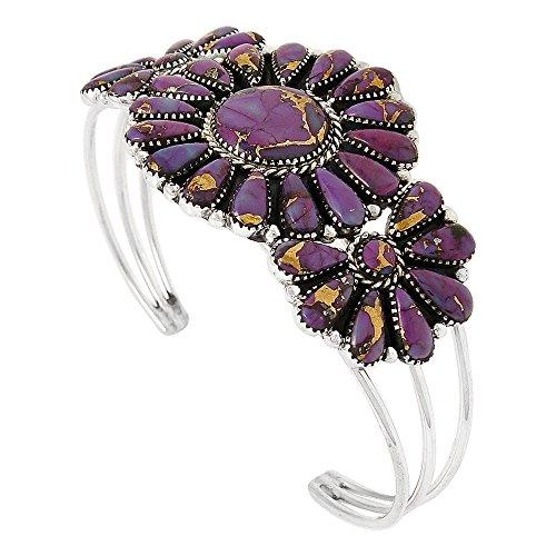Southwest Style Genuine Turquoise 925 Sterling Silver Cluster Bracelet (Purple)