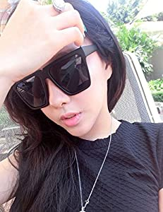 Generic The new Korean influx of people retro sunglasses oversized square frame sunglasses Ms. man boy black super cool sunglasses